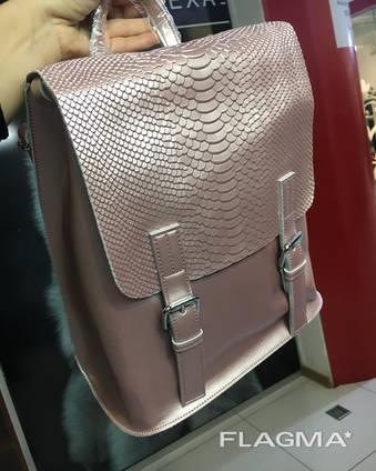 Рюкзак трансформер кожа , сумка трансформер пудровый