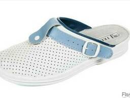 Сабо чоловічі білий з синім, взуття медпрацівника