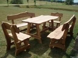 Садово-парковая мебель из дерева (дуб) столы, беседки
