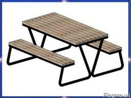Садово-парковый комплект мебели из стола и двух лавок