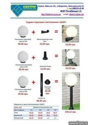 Садово-парковые светильники типа «ШАР» по акционным ценам