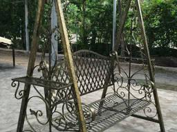Садовые качели, качели для сада из металла, качели с навесом сварные, ковка