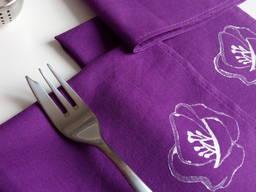 Салфетки обеденные, коктельные - фиолетовые, коричневые