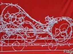 Санки новорічні,висота 70 см, довжина 130 см, ширина 50 см;