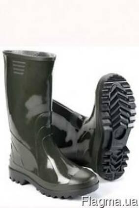 Сапоги ПВХ темные, резиновые сапоги, рабочая обувь.