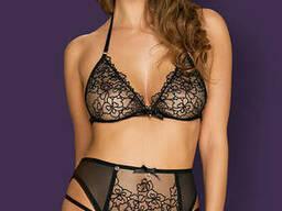 Сексуальний комплект з поясом для панчіх Obsessive Uniquella set, Чорний, L/XL