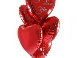 Сердца гелиевые фольгированные