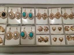Серьги, бижутерия chapado oro, fashion earrings
