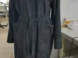Серый махровый халат кимоно