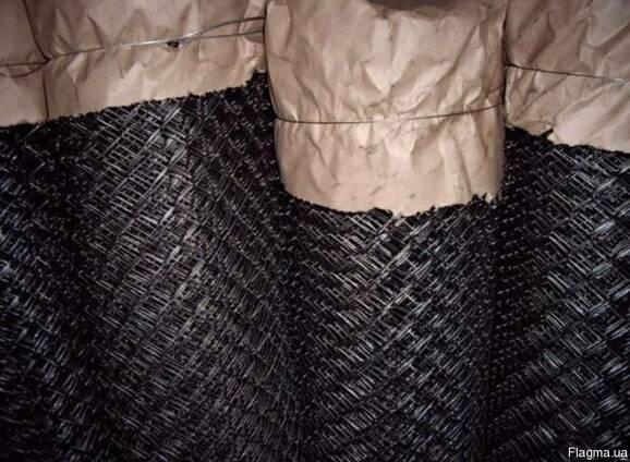 Сетка рабица черная. Ячейка:45х45х1,8мм; рулон:1х10м