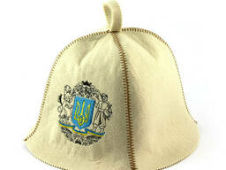 Шапка для сауны (белая), Герб Украины, искусственный фетр, Saunapro
