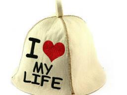 Шапка для сауны (белая), I love my life, искусственный фетр, Saunapro
