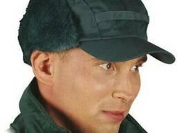 Шапка ушанка зимняя утепленная зеленого цвета