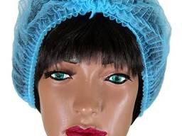 """Шапочки одноразовые """"Шарлотка"""" (100 шт/уп), цвет голубой, ткань спанбонд, пл: 13 г/м2."""