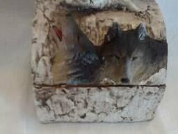 Шкатулка волк 12 см