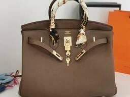 Шкіряна жіноча сумка Hermes Birkin Люкс. Фірмова упаковка 35 см Капучино