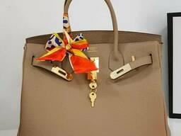 Шкіряна жіноча сумка в стилі Hermes Birkin Люкс, фірмова упаковка! 30 см Бежева