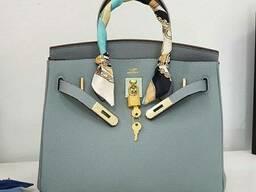 Шкіряна жіноча сумка в стилі Hermes Birkin Люкс, фірмова упаковка! 30 см Блактина
