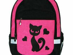 Школьный рюкзак для девочки Кошка розовый, ткань кринкл. ..