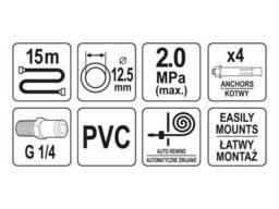 Шланг пневматичний YATO на котушці з автозмотуванням 12. 5 мм 15 м