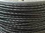 Шнур кожаный плетеный черный 3 мм Индия
