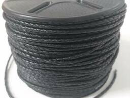 Шнур кожаный плетеный черный 2,5мм и 3 мм, Индия - фото 2
