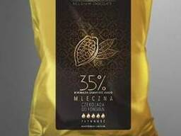 Шоколад молочный 35 %, натуральный бельгийский Blanche
