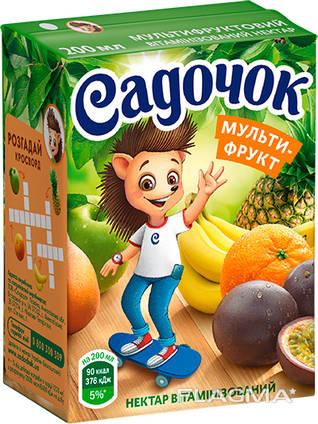 """Сок """"Садочок"""", нектар витаминизированный, 0.2 л х 27 шт."""