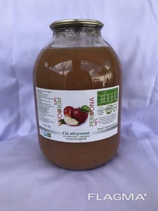 Сік яблучний з м'якоттю з цукром стерилізований 3л