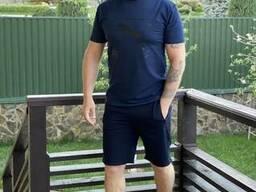 Синий мужской спортивный костюм лето. Спортивные мужские шорты + футболка. Летний. ..