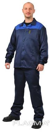 Синий рабочий костюм с васильковой кокеткой