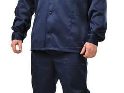 Синий рабочий костюм с васильковой кокеткой - фото 1