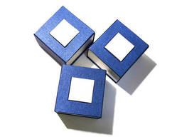 Синяя коробка 90х90х60 мм. Коробка для часов. Подарочная. ..
