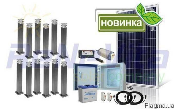 Система ландшафтной декоративной подсветки на солнечных бата