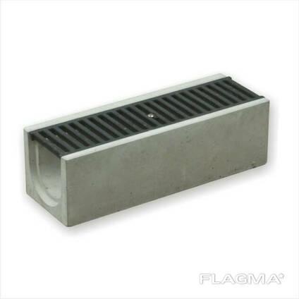 Бетонные стоки для воды DN100 H155 класс C чугунная решетка