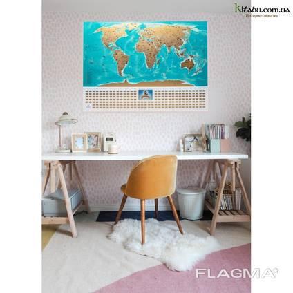 Скретч карта мира My Flags Map на украинском языке, оригинальный подарок
