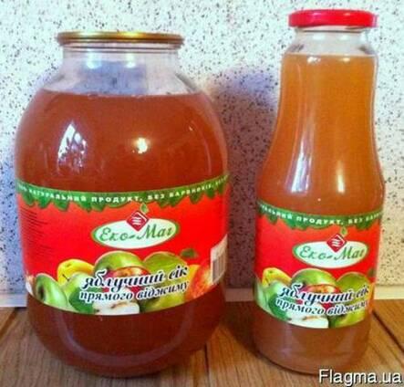 Сок яблочный прямого отжима неосветленный 1 л; 3 л