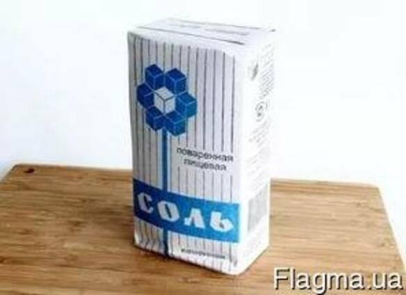 Соль пищевая в бумажных пачках по 1/1,5кг
