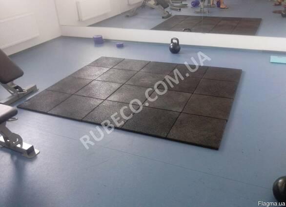 Спортивне покриття 500х500х20 мм, колір чорний. Гумові плити
