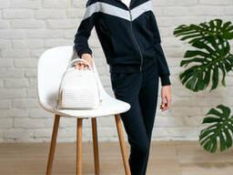 Спортивный костюм на молнии для девочки подростка синего цвета из двунити 40