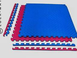 Спортивные маты ласточкин хвост 40 мм, 120 кг/м. куб красно - синие