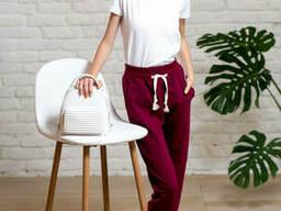 Спортивные подростковые брюки для девочки из двунити бордового цвета 40