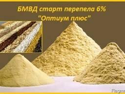 Старт БМВД «Оптиум плюс» 6% для перепелов с первых дней.