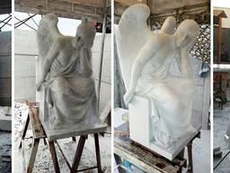 Статуи ангела, изготовление скульптур из белого мрамора под