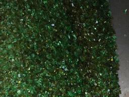 Стеклянная крошка зелена, коричнева, белая
