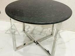 Стеклянный стол кухонный из нержавеющей стали и стекла