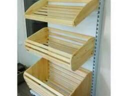 Стеллаж хлебный с деревянными корзинами для мучного