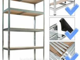 Стеллаж полочный 2000х900х500мм, 200кг, 5 полок с ДСП оцинкованный для архива, гаража. ..
