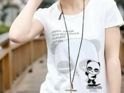 Стильная красивая футболка с принтом из хлопка