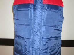 Жилет стеганый двухцветный, утепленный синий с красной отдел